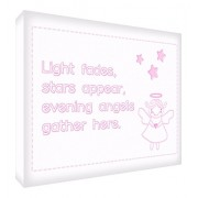 Feel Good Art Thick Nursery Canvas Night Fades, Stars Appear, Evening Angels Gather Here (A1, Pink)