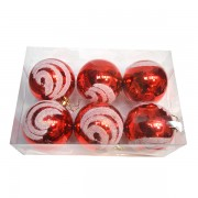 Set 6 globuri rosii cu sclipici alb