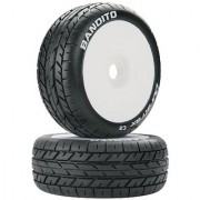 Duratrax Bandito Buggy Tire C2 Mounted White (2-Piece) (1/8 Scale)