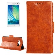 Oil Skin Texture Horizontal Flip Leather Case with Card Slots & Wallet & Holder for Samsung Galaxy A5(Brown)