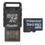 Transcend Micro SDHC / TF Memory Card w/ USB Card Reader - Black + White (32GB / Class 4)