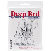 Deep Red Stamps African Elephant Rubber Stamp