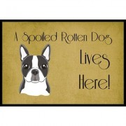Caroline's Treasures Boston Terrier Spoiled Dog Lives Here Mat BB1451JMAT / BB1451MAT