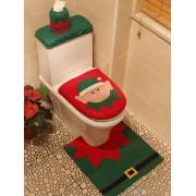 rosegal 3PCS Christmas Supplies Bathroom Toilet Closestool Cover Floor Mats