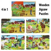 4 Wooden Jigsaw Puzzles (28Pcs Per Puzzle) in a Wooden Box for Kids - Ages 3+ Years (Animal FARM)