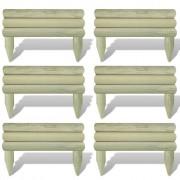 vidaXL 6 бр. дървени панелa за ограда 60 см, хоризонтални