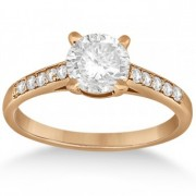 Cathedral Pave Diamond Engagement Ring Setting 14k Rose Gold (0.20ct)
