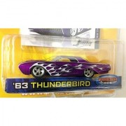 DUB CITY OLD SKOOL / '63 THUNDERBIRD / Purple w flames / 1:64 Scale Die-Cast Collectible / JADA Toys 2005