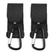 Metal Leather Buggy Clips Baby Pram Pushchair Stroller Hooks 2Pcs Black