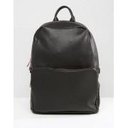 ASOS Черный рюкзак из искусственной кожи с золотисто-розовой молнией ASOS