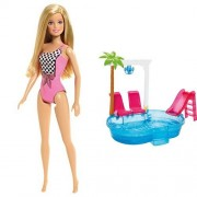 Barbie CFF12 - Barbie Spiaggia + Barbie DGW22 - Glam Pool, Multicolore