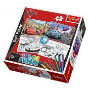 Trefl - 36502 - Puzzle à Colorier - Cars - 48 Pièces