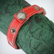 Piele Rosie si Decoratiuni Metalice Bratara cu Lungime Reglabila BFL-966