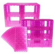 Premium Big Briks Clear Magenta Baseplate Tower Construction Set - 96 Pack Bundle (Big LEGO DUPLO Compatible) - Large Pegs