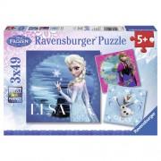 PUZZLE FROZEN ELSA, ANNA SI OLAF, 3X49 PIESE (RVSPC09269)
