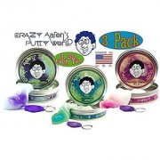 Crazy Aarons Thinking Putty Phantoms (UV Reactive) Mystic Glacier Foxfire & Arctic Flare with Blacklight Keychains Gift