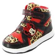 Adidasi gheata Minnie fetite negru rosu leopard