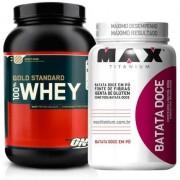 Kit 100% Whey Gold Standard (909g) -Optimum Nutrition + Batata doce em Pó (600g) - Max Titanium