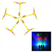 LED s'allume Flying Rotation Rubberband Slingshot hélicoptère jouet - jaune Fluorescent (5p.)