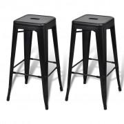 Bar Chair High Chair Bar Stool Square 2 pcs Black
