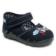 Pantofi baietel, din material textil, bleumarin, cu avion brodat