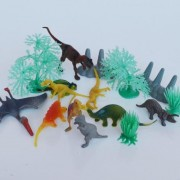 """15 Piece Mini Dinosaur Toy Pack- Includes (10) 4"""" Dinosaurs + (5) Trees"""