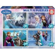 EDUCA 16173 Cardboard multi puzzle din lemn Frozen 150,100, 80, 50 bucăţi