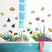 Under the Sea Decals The Deep Blue Sea Fishes Decorative Peel Vinyl Wall Stickers Wall Decals Removable Decors for Bedro