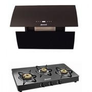Jazel Shine 60Cm 1200M3/H +3 Burner Cooktop (Combo Set Offer)