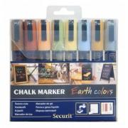 Marker cu creta, 8 culori/set, SECURIT SMA510