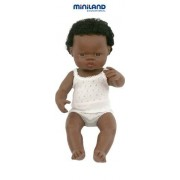 Miniland Muñeco bebé africano niño con ropa interior, 38 cm (31153)