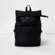 River Island Mens Black roll top backpack