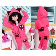 Compleu toamna iarna fete 2 piese roz cat