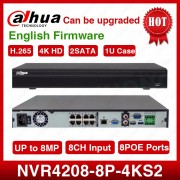 Dahua NVR NVR4208-8P-4kS2 8CH NVR 8MP 1U 8PoE 4K&H.265 Lite Network Video Recorder With 2SATA