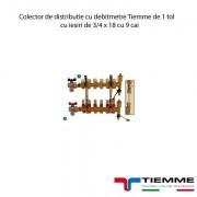 Colector de distributie cu debitmetre Tiemme de 1 tol cu iesiri de 3/4 x 18 cu 9 cai