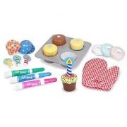 Melissa & Doug Bake and Decorate Wooden Cupcake Play Food Set