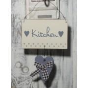 Dekoschild, Holzschild mit Herz in grau für WC oder KÜCHE
