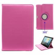 Capa Rotativa em Pele - Samsung Galaxy Tab 2 10.1 P5100, P7500 - Rosa Inrtenso
