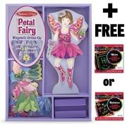 Petal Fairy - Magnetic Dress Up Wooden Doll & Stand + FREE Melissa & Doug Scratch Art Mini-Pad Bundl