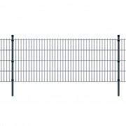vidaXL Pannello di recinzione 2D giardino con paletti 2008x1230 mm 12m grigio