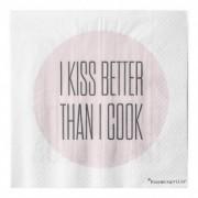 "Pachet Servetele "" I Kiss Better... "" Gri/Rose, l33xL33 cm, 20 buc/pachet"