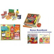 """Melissa & Doug Wooden Fridge Food Set, Pantry Products, And Playtime Veggies With Bonus """"Scratch & Smell"""" Boardbook"""