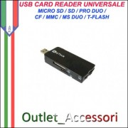 Card Reader Lettore Memory Pro Duo Usb Micro Sd CF
