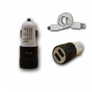 Chargeur Voiture Allume-Cigare Ultra Rapide Car Charger 2x Usb 2100ma + 1000ma (+Câble Offert) Noir Pour Wiko U Feel Fab