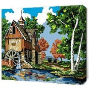 Diy oil painting paint by number kit- Riverside cottage 16*20 inch.