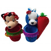 Aparshi Rabbit with Carrot and Mickey stuffed soft toy pen stand (Pack of 2)