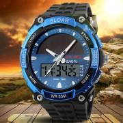 Relojes Hombre Hombres Deportes Energía Solar De Hora Dual Pantalla Resistente Al Agua Reloj Electrónico-rojo