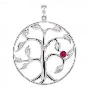 Zilveren Levensboom Hanger met 1 Geboortesteen