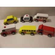 Wooden Vehicle 6 Car Set (Police, Ambulance, Fire Ladder Truck, School Bus, Taxi, Ice Cream Truck)