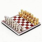 Odoria 1:12 Miniature Metal International Chess Set 32 Chesses and Chessboard Dollhouse Furniture Accessories